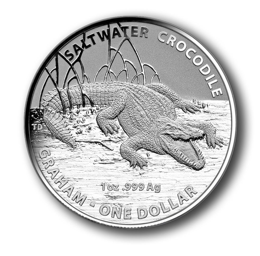 Australian Saltwater Crocodile - Graham 2014 $1 Silver Frosted coin