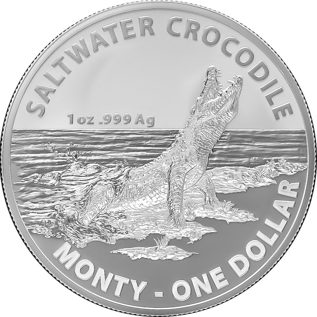 Saltwater Crocodile Monty One Dollar Silver Frosted Unc.Silver