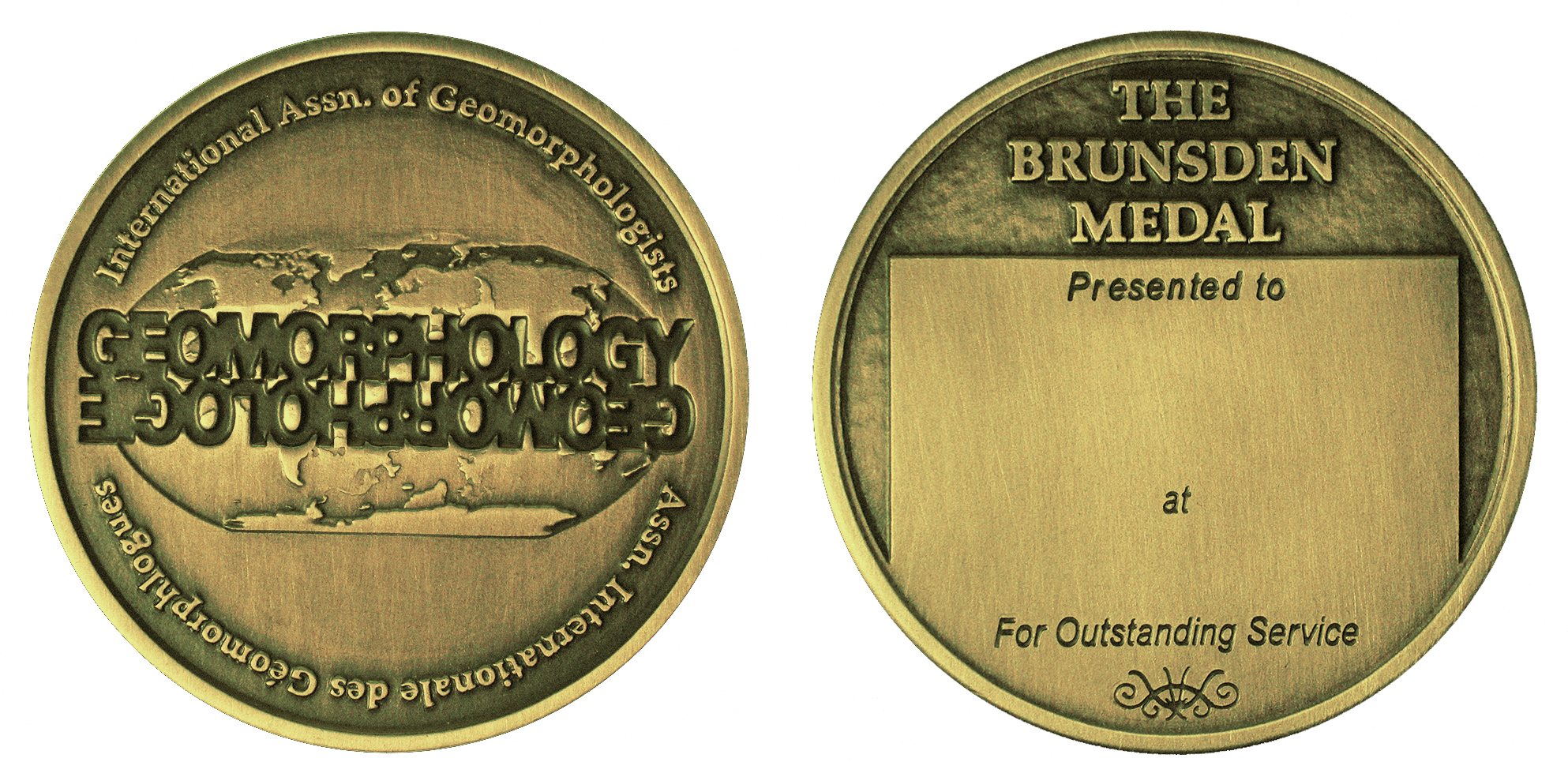 International Association of Geomorphologists Brunsden Medal Obv and Rev