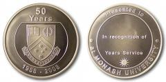 Monash University 50 Years obv and rev