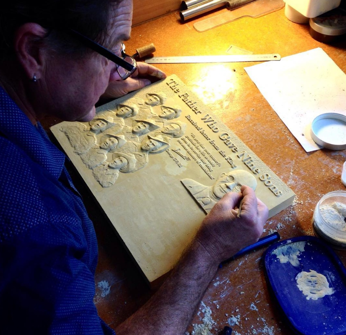 Bronze Plaque sculpting in plaster